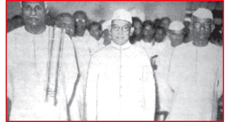 ത്രിമൂർത്തികൾ: ടി എം വർഗീസ്, പട്ടം  താണുപിള്ള, സി കേശവൻ എന്നിവർ