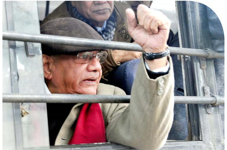 സിപിഐ എം ജനറൽ സെക്രട്ടറി സീതാറാം യെച്ചൂരി  ഡൽഹിയിൽ അറസ്റ്റിലായപ്പോൾ
