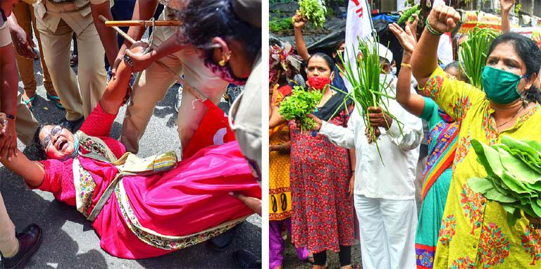 ബംഗളൂരുവിൽ സിഐടിയു കർണാടക സംസ്ഥാന പ്രസിഡന്റ്  വരലക്ഷ്മിയെ പൊലീസ് ബലംപ്രയോഗിച്ച് അറസ്റ്റുചെയ്യുന്നു