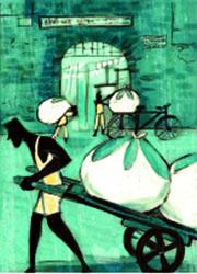 അഴുക്കുവസ്ത്രങ്ങൾ ഉന്തുവണ്ടിയിൽ കൊണ്ടുപോകുന്ന  ധോബി: രഘു കാമത്തിന്റെ ഇല്യുസ്ട്രേഷൻ